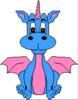 Pink Blue Dragon Clip Art