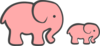 Pink Elephant Mom & Baby Clip Art