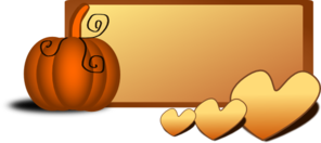 Pumpkin With Hearts Banner Clip Art