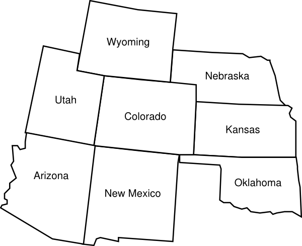 Colorado Map With Surrounding States With Labels2 Clip Art at