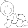 Crawling Baby Boy Outline Clip Art