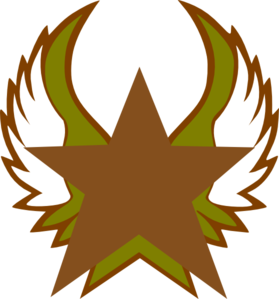 Bronze Star With Gold Wings Clip Art