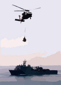 A Mh-60s Knighthawk Assigned To The  Chargers  Of Helicopter Combat Support Squadron Six (hc-6) Delivers One Of Many Palettes Of Supplies To The Amphibious Assault Ship Uss Wasp (lhd 1). Clip Art