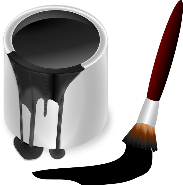 Black Paint Bucket With Paint Brush Clip Art at Clker.com ...