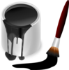 Black Paint Bucket With Paint Brush Clip Art