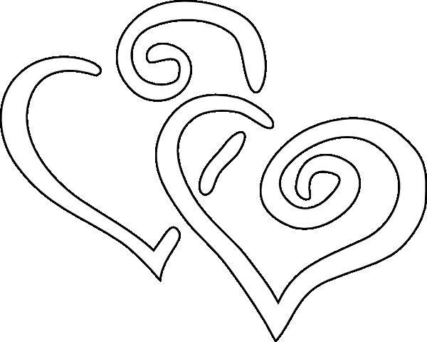 Black Outline Joined Hearts Clip Art At Clker Com Vector