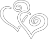 Black Outline Joined Hearts Clip Art