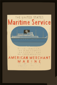 The United States Maritime Service Offers Practical Training Courses For Licensed And Unlicensed Men Of The American Merchant Marine  / Burroughs ; Halls. Clip Art