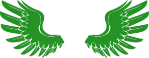 Wings In Green Clip Art