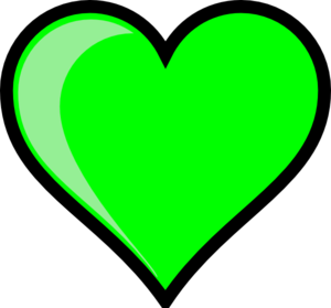 Neon Green Bubble Heart Clip Art
