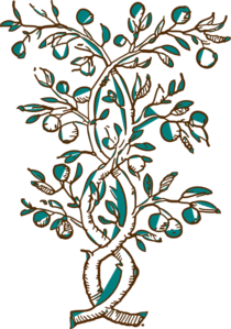 Ahulani Blue And Brown Flowering Branch Clip Art