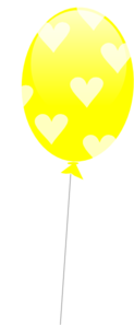 Yellow Balloon With Hearts Clip Art