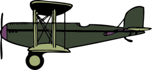 Green And Purple Biplane2 Clip Art
