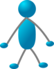 Standing Stick Man - Gray Arms Clip Art