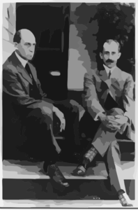 Wilbur Wright And Orville Wright Seated On Steps Of Rear Porch, 7 Hawthorne St., Dayton, Ohio Clip Art