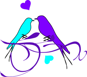 Birds On A Branch Aqua Purple Clip Art