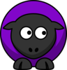 Sheep Looking Right Purple  Clip Art