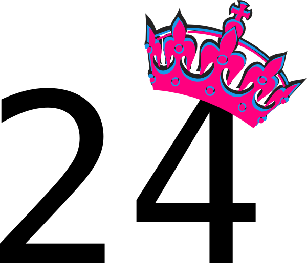 pink tilted tiara and number 24 clip art at clker com Guitar Vector Musical Notes Vector Art