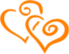 Orange Intertwined Hearts Clip Art