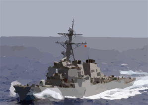 The Guided Missile Destroyer Uss Curtis Wilbur (ddg 54) Sails In The Open Waters Of The Western Pacific Ocean. Clip Art