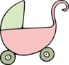 Pink And Green Pram Clip Art