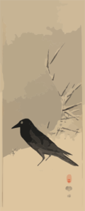 Blackbird Near Reeds In Snow. Clip Art