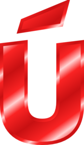 Effect Letters Alphabet Red: Ú Clip Art