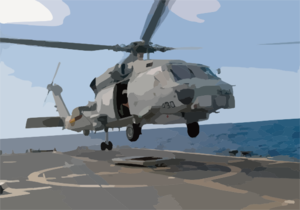 An Sh-60b Seahawk Assigned To The Proud Warriors Of Light Helicopter Anti-submarine Squadron Four Two (hsl-42) Lifts Off The Fight Deck Aboard The Oliver Hazard Perry Class Frigate Uss Stephen W. Groves (ffg 29). Clip Art