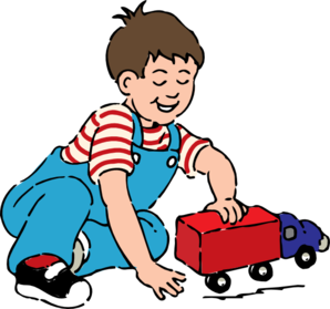 Boy Playing With Toy Truck Clip Art