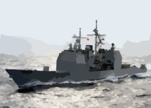 The Guided Missile Cruiser Uss Leyte Gulf (cg 55) Is Shown Underway. Clip Art