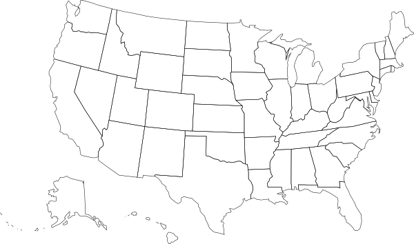 Us Map Blank Outlines Clip Art At Clkercom Vector Clip Art - Map of us clip art