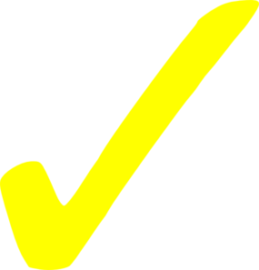 Transparent Yellow Checkmark Clip Art
