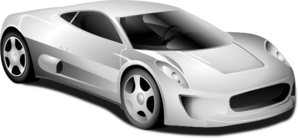 Silver Sports Car Clip Art