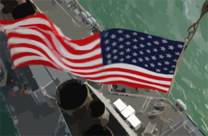 Stars & Stripes Flying Boldly As Seen From The Crow Clip Art