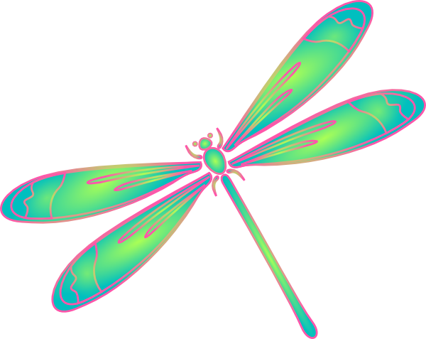 Dragonfly In Flight Blue Green Pink Clip Art at Clker.com ...
