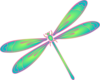 Dragonfly In Flight Blue Green Pink Clip Art