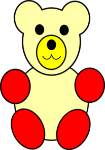 Yellow Counting Bear, Red Paws Clip Art