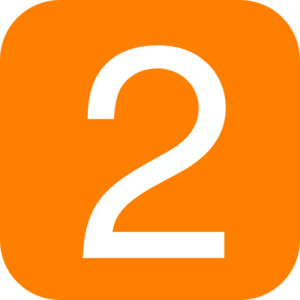Orange, Rounded, Square With Number 2 Clip Art