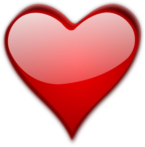 Glossy red heart clip art
