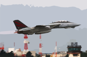 An F-14 Tomcat Assigned To The  Black Knights  Of Fighter Squadron One Five Four (vf-154) Departs Naval Air Facility Atsugi, Japan. Clip Art