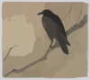 Crow On A Willow Branch. Clip Art