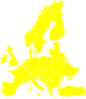 Euro Map Yellow Clip Art