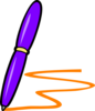 Lilac Pen Orange Writing Clip Art