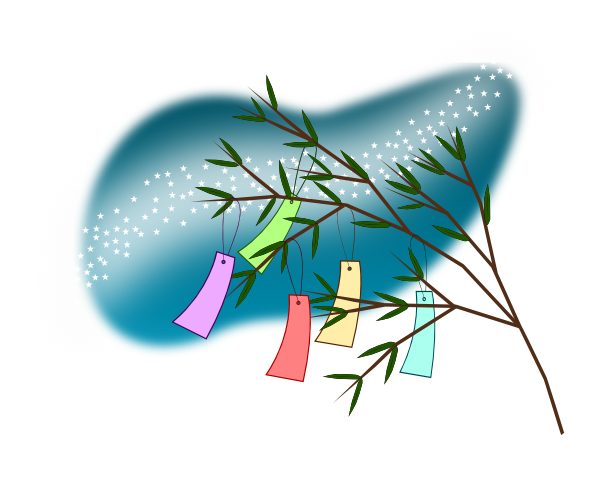 tanabata wish tree with milky way clip art at clkercom