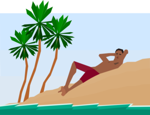 Man Under Palm Trees Clip Art