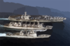 The Aircraft Carrier Uss Nimitz (cvn 68), Guided Missile Cruiser Uss Princeton (cg 59), And Fast Combat Support Ship Uss Bridge (aoe 10) Participate In An Underway Replenishment (unrep). Clip Art