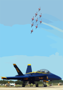 The   Canadian Snowbirds  Fly Nine Ct-114   Tutors  Over One Of The Blue Angels F/a-18  Hornets  During The   2002 Neptune Festival Air Show. Clip Art