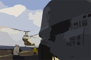 Ch-46 Sea Knight Helicopter As It Takes Off From The Main Deck Of The Amphibious Command Ship Uss Mount Whitney. Clip Art