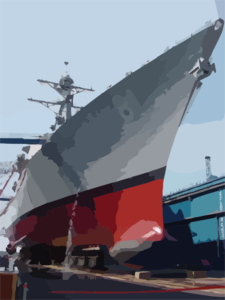 Uss Churchill Docked At Bath Iron Works During Psa. Clip Art