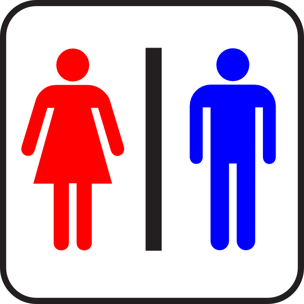 Colored Sign Bathroom Wc Man Woman Clip Art At